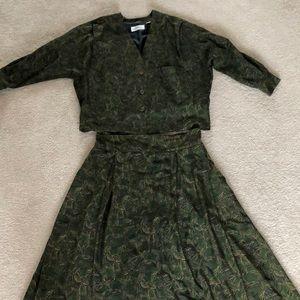 Ellen Tracy 100% Silk Blouse and Skirt Set